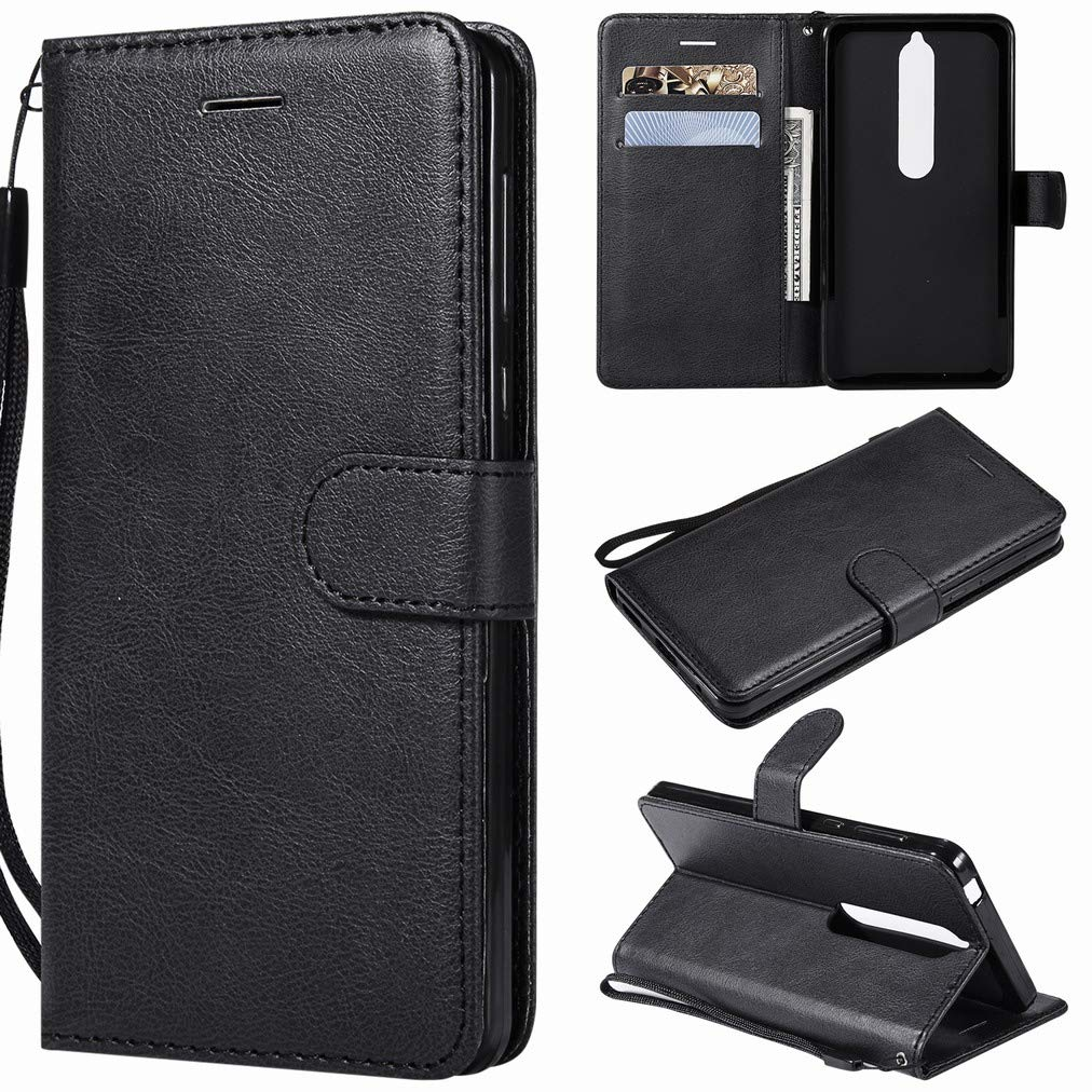 Business Series Black Laybomo Case for Nokia 6 2018 Cover Case PU Leather Wallet Soft TPU Folio Slim Flip Stand View Bumper Magnet Card Slot Protective Holster Case for Nokia 6 2018