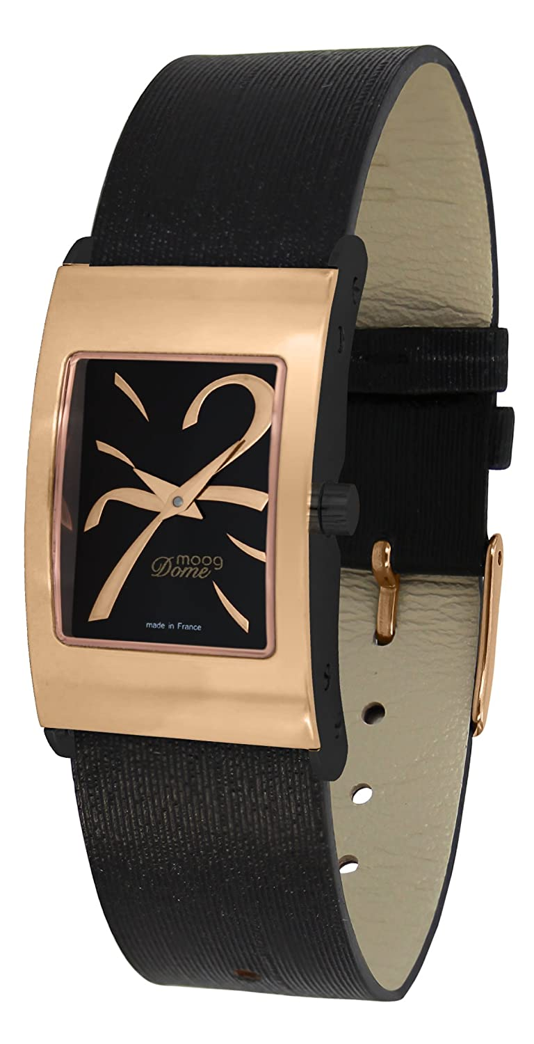 Moog Paris Dome Women s Watch with Silver Gold White Black Dial, Silver White Blue Black Strap in Genuine Leather
