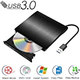 Qibaok Unidad de DVD externa Portable DVD Drive USB 3.0 CD DVD-RW Grabador de grabador con cable USB incorporado y unidad combinada para Mac Air / Pro Laptop Desktop, Negro