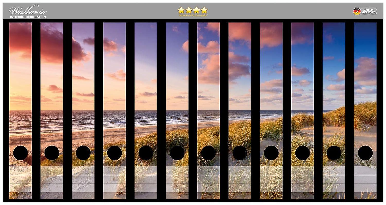 Wallario Ordnerrücken selbstklebend für 9 breite Ordner Weg Dünen Strand Meer