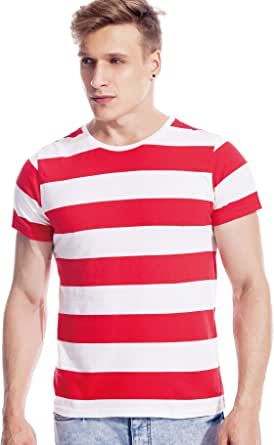 Zbrandy Camisa ancha a rayas para hombre bretón camisas rayas marinero camiseta manga corta