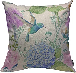 Mugod Bird and Floral Decoration Throw Pillow Cushion Covers Watercolor Flowers Butterflies and Hummingbird Decorator Funny Pillows for Sofa Fall Home Decor Couch Pillow Case 18 X 18 Inch