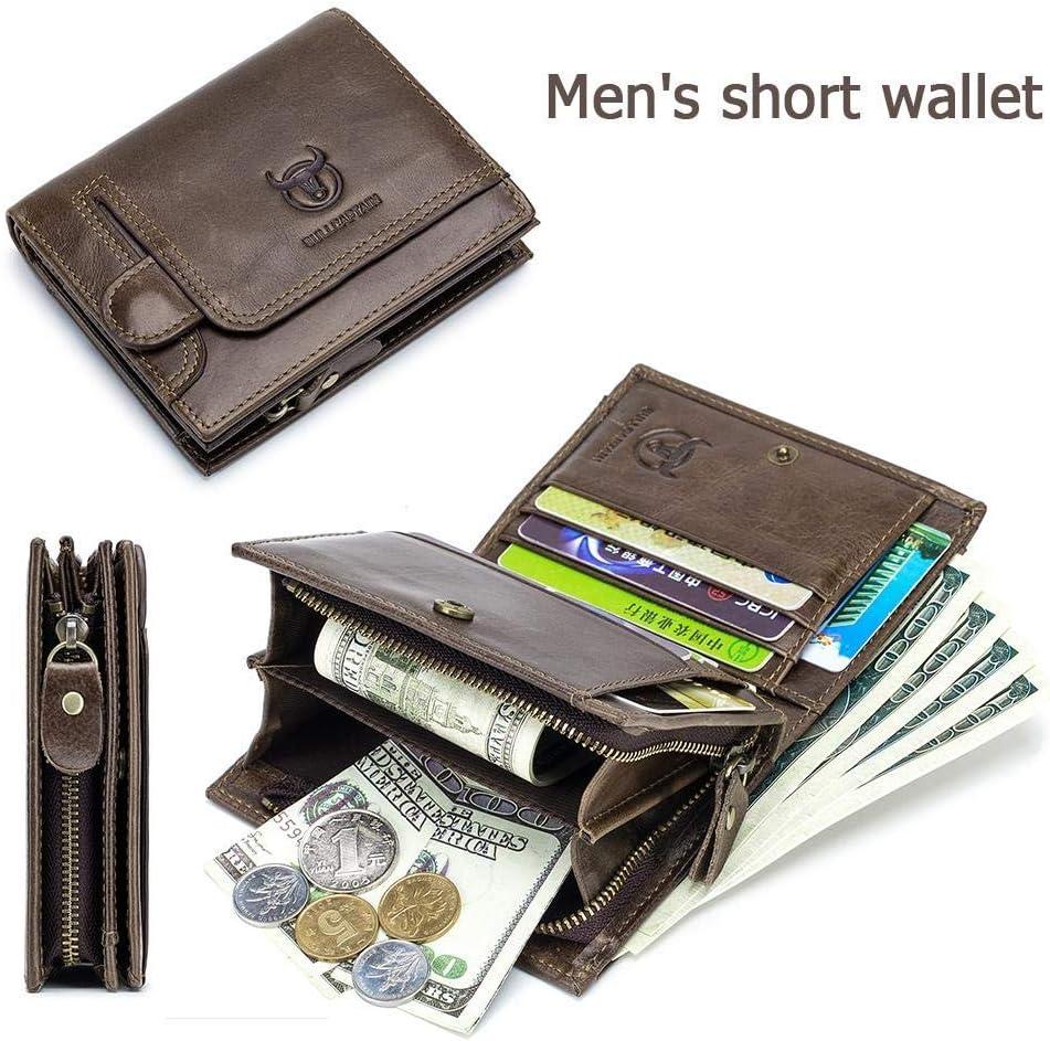 Color : Brown, Size : S BULLCAPTAIN Bifold Kurz Wallet Herren Kupplung Casual Coin Purse Kartenhalter Herren Leder Geldb/örse