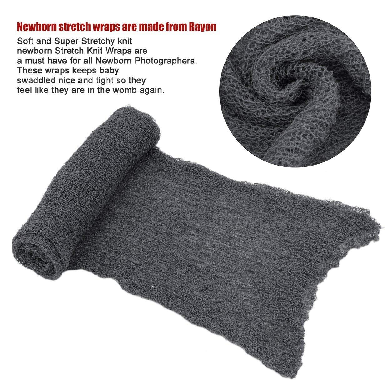 Beb/é reci/én Nacido Accesorios de fotograf/ía Manta Ray/ón Stretch Knit Wraps 40 150 cm Color: Gris Oscuro