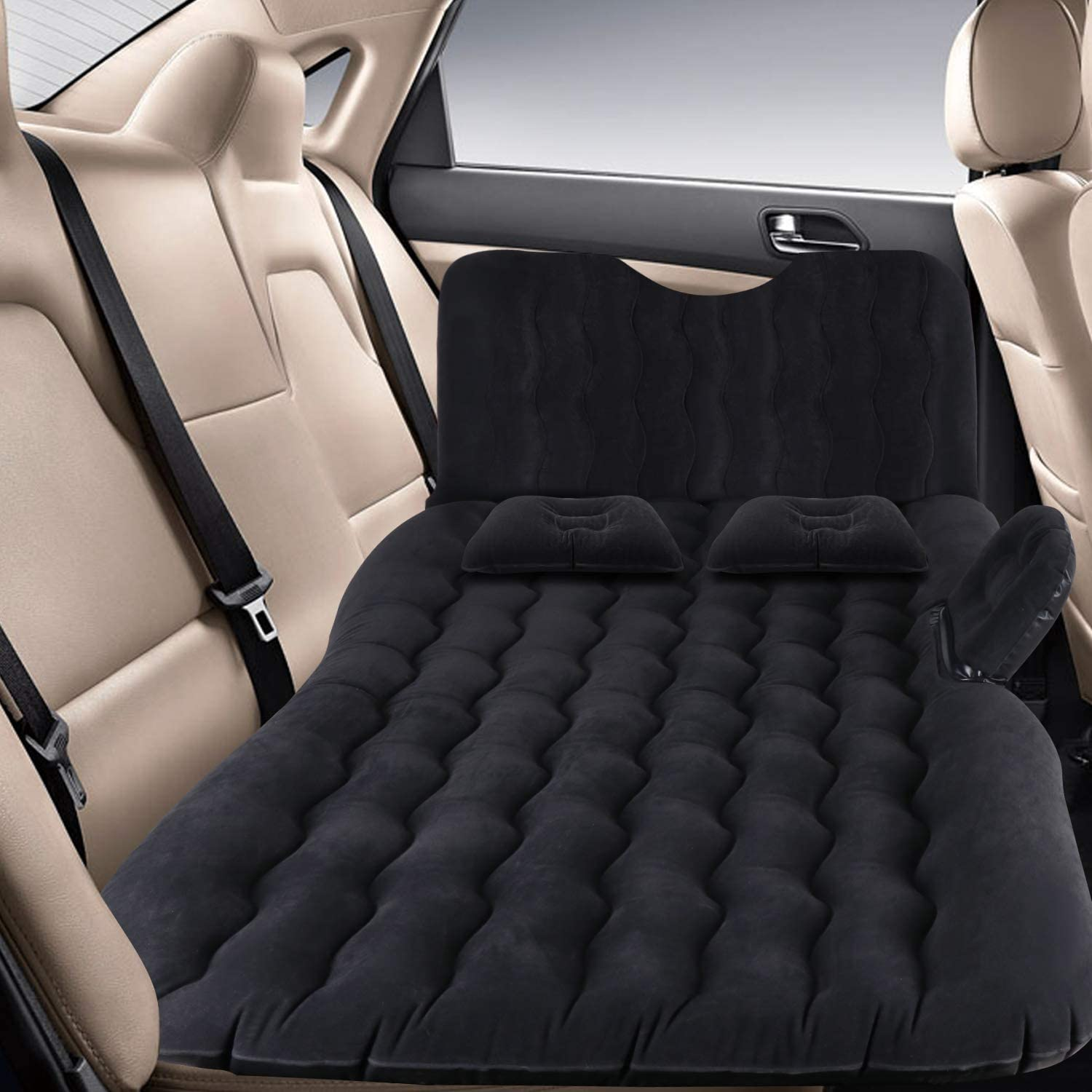 AAIWA Car Air Bed Inflatable Car Mattress Travel Bed with Backrest Pump Kit for Camping Portable Back Seat Sleeping Pad with 2 Pillows for Car SUV Truck
