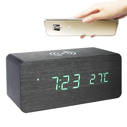 GANGHENGYU Electronic LED Reloj de Madera Digital Estación de Carga inalámbrica para teléfono móvil Reloj de