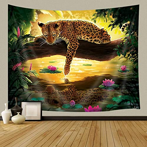 JAWO Animals Tapestry, Green Tropical Forest Jungle with Jaguar Big Cats, Tapestry Wall Hanging for Bedroom Living Room Dorm 90X70Inches