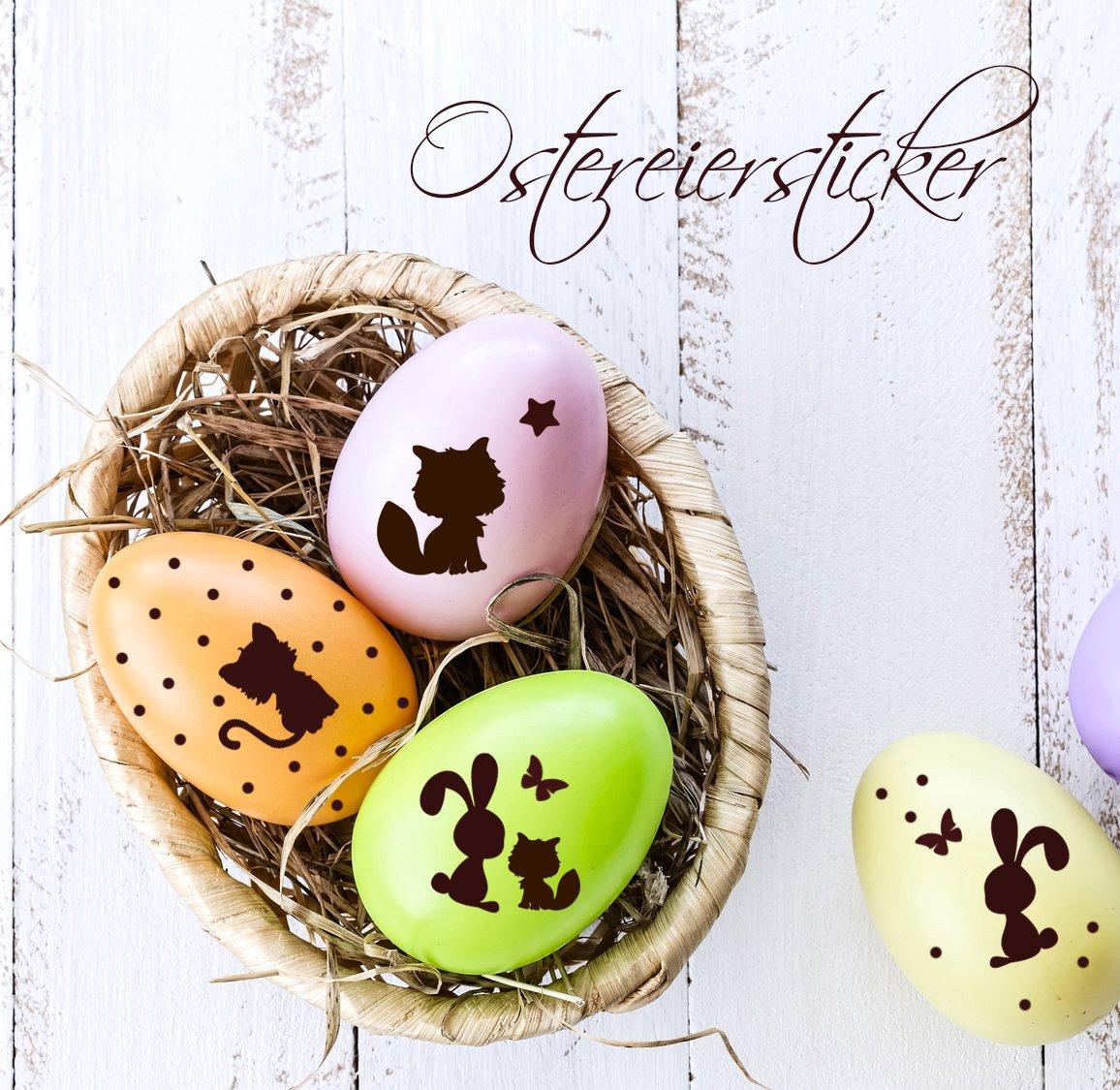 Adesivi decorativi per uova di Pasqua, motivo: volpi, lepri, gatti, farfalle, primavera, bambini M1415 ilka parey wandtattoo welt