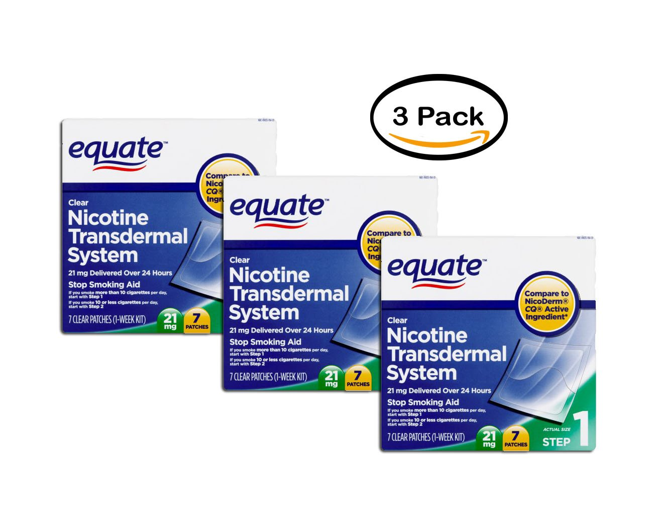 PACK OF 3 - Equate Nicotine Transdermal System Step 1 Patches, 21 mg, 7 Ct