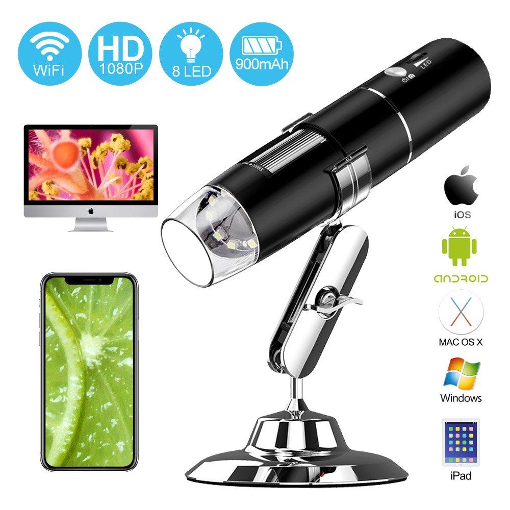 USB Endoscope WiFi Digital Microscope, UMTELE Handheld 2MP Camera Rechargeable Microscope, 50x to 1000x Magnification Metal Stand iPhone/iPad/Samsung/Windows/Mac Smartphones