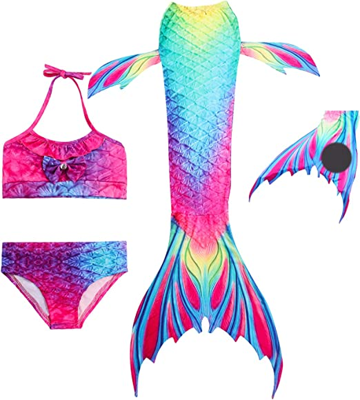 HiFunBay Filles Queue de Sir/ène Maillot de Bain Bebe Bikini 3//4//5 pcs avec Monopalme et Bandeau Guirlande de Fleurs