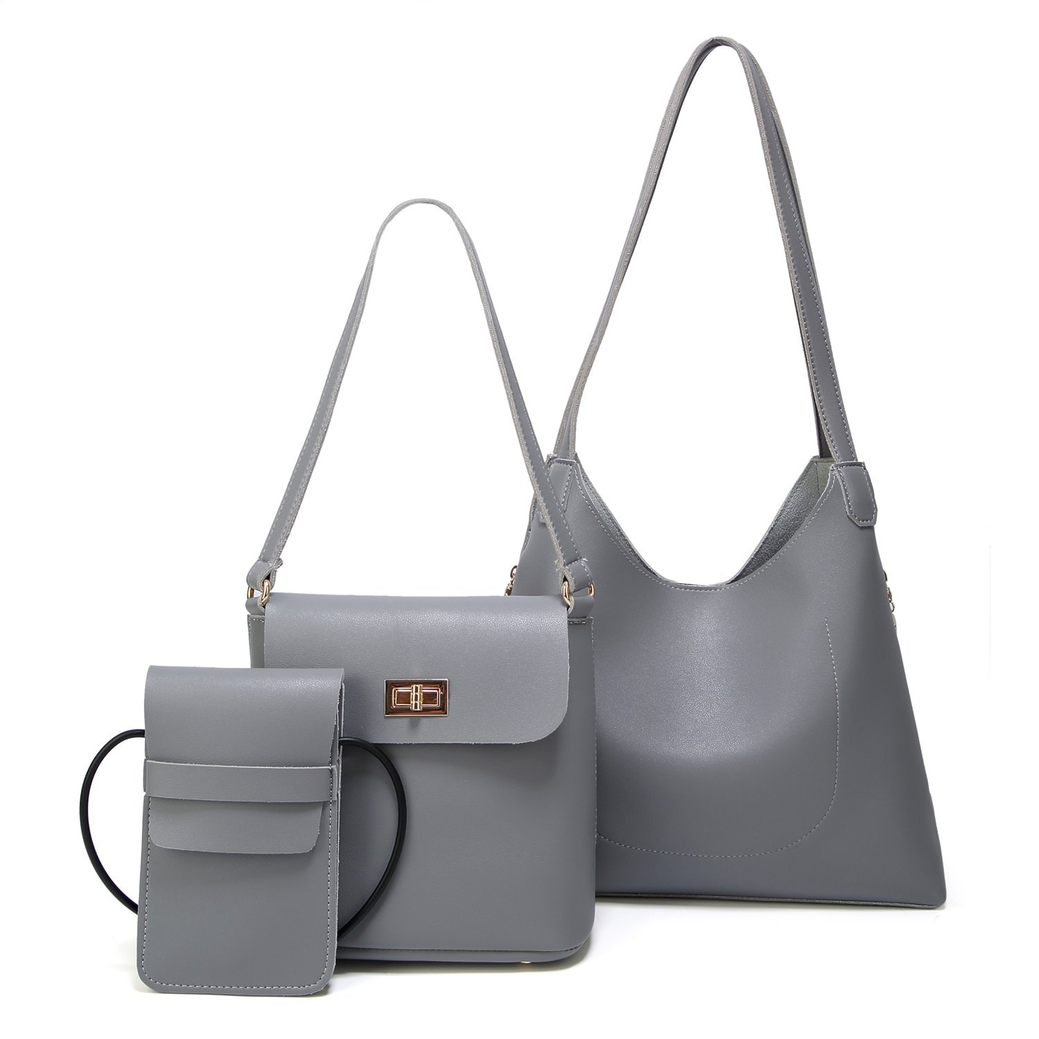 Color : Gray, Size : M L.Z.HHZL Crossbody Bag Daughter Package Three-Piece Fashion Simple Shoulder Bag Big Bag Messenger Bag Women Wallet
