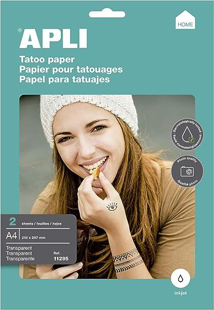 APLI Papel para imprimir Tatuajes A4 2hojas Inkjet: Amazon.es ...