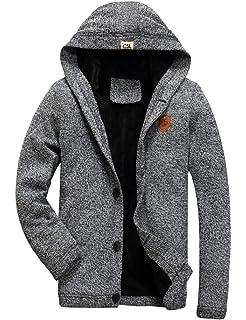 AIKOSHA Mens Fleece gefütterte Kapuzen-Button-Down-Strickjacke mit Taschen f69c2ef576