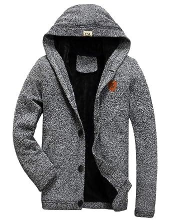 AIKOSHA Mens Fleece gefütterte Kapuzen-Button-Down-Strickjacke mit Taschen 8a9f5ff2eb