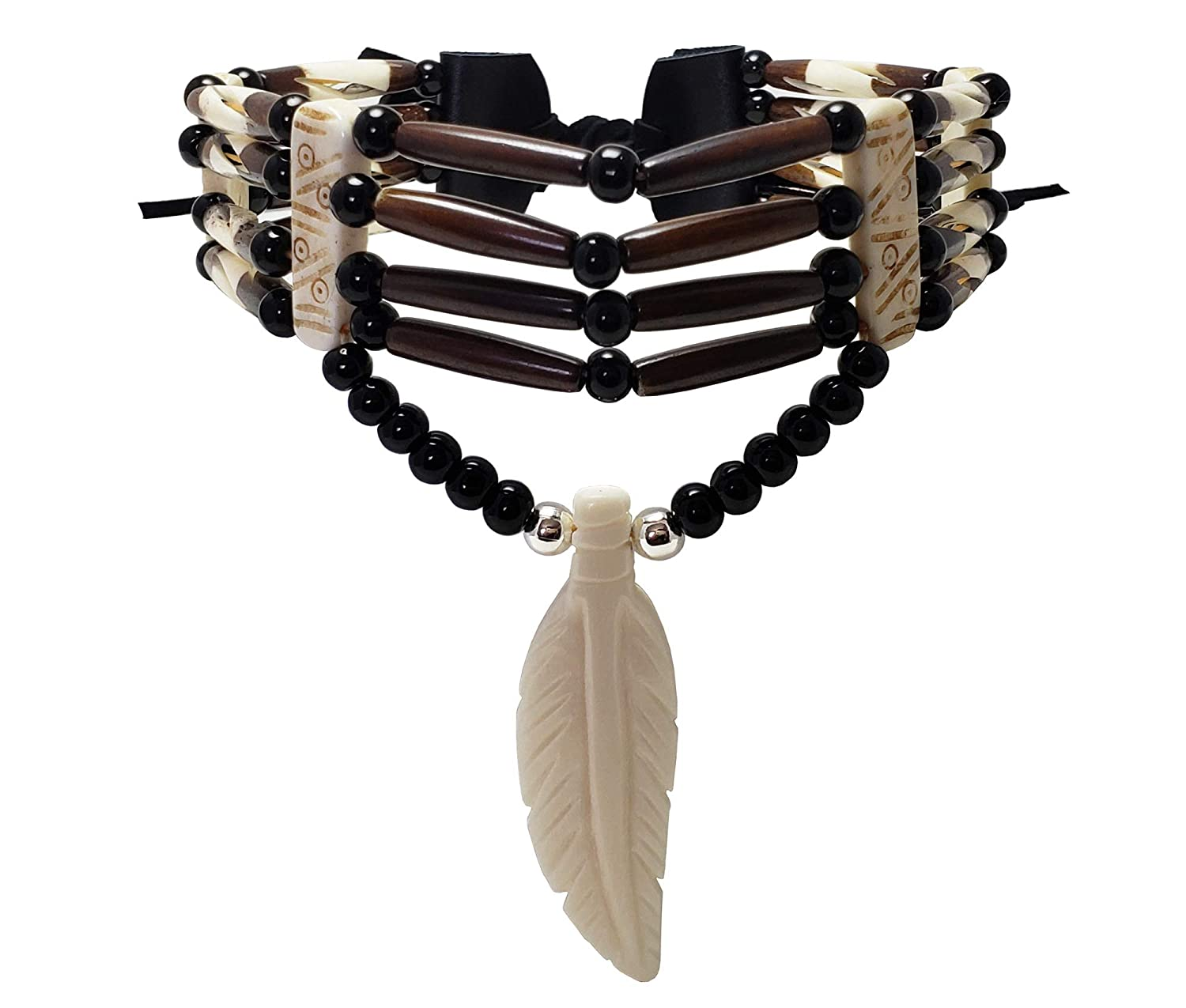 Traditional 4 Row Buffalo Bone Hairpipe Beads Tribal Choker Necklace with Bone Feather Pendant