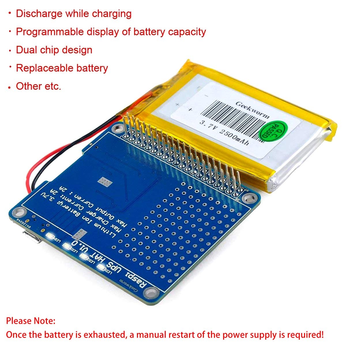 Makerfocus Raspi Ups Hat Board For Raspberry Pi 3 Model How To Make Your Own Battery Backup Circuit Extremely Easy B 2b A And 2500mah Lithium Computers Accessories