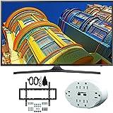"""Samsung UN55KU6290 55"""" Class 6-Series 4K Ultra HD Smart LED TV w/ Flat Wall Mount Bundle includes TV, Slim Flat Wall Mount Ultimate Kit and 6 Outlet Wall Tap w/ 2 USB Ports"""