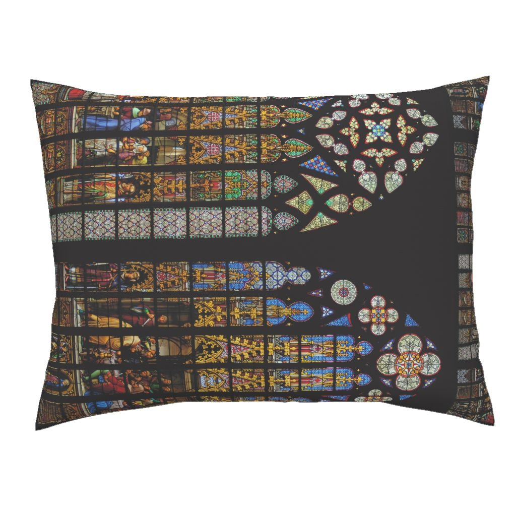 Roostery Stained Glass Windows Church Lolita Border Christian Medieval Euro Knife Edge Pillow Sham Cathedral Of by Peacoquettedesigns 100% Cotton Sateen
