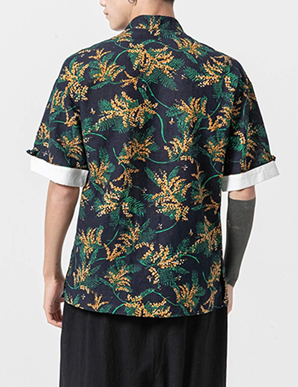 Zhhlinyuan Chinese Style Mens Short Sleeve Shirts Casual Stand Collar Printed Top