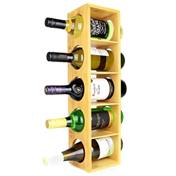 278fc9b9e1 Bamboo Wine Rack | Wall Mounted 5 Bottle Holder Stand | Wooden  Pre-assembled Wine