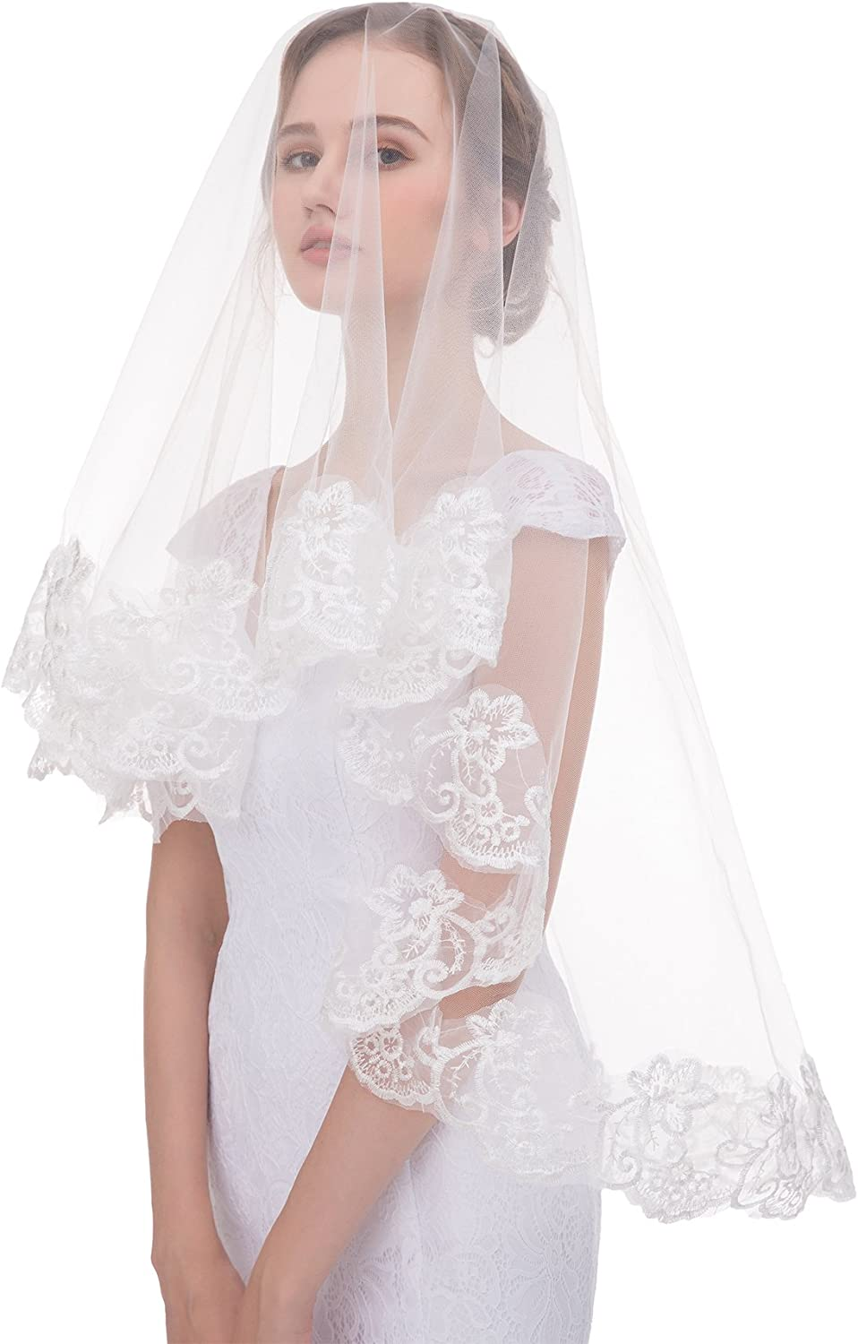 Sunny zeyu One Layer Fingertip Lace Edge Tulle Veils Comb Wedding Accessories