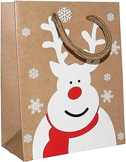 NUEVO** Hermosa bolsas de regalo de Navidad - reno katakana para regalos, regalos, al por mayor - PACK OF 12: Amazon.es: Oficina y papelería