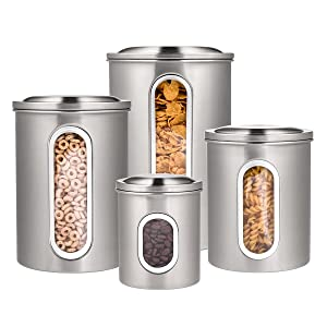Deppon 4-Piece Canister Set with Airtight Lids and Plexi-Glass Window (Stainless Steel)-for Tea Coffee Sugar Nuts Flour Food