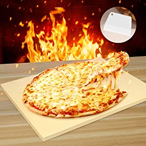 BurstEay Pizza Stone for Crispy Crust Pizza, 12''x 15''Rectangular Engineered Tuff Cordierite Durable Baking Stones for Ovens & Grill & BBQ, Cooking & Baking Stone with Free Pizza Scraper