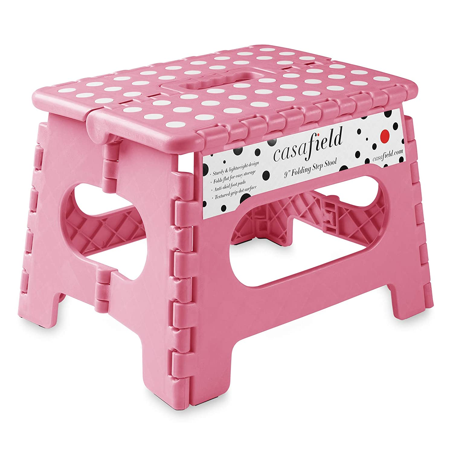 "Casafield 9"" Folding Step Stool with Handle, Pink - Portable Collapsible Small Plastic Foot Stool for Kids and Adults - Use in The Kitchen, Bathroom and Bedroom"