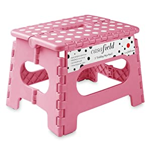 """Casafield 9"""" Folding Step Stool with Handle, Pink - Portable Collapsible Small Plastic Foot Stool for Kids and Adults - Use in The Kitchen, Bathroom and Bedroom"""