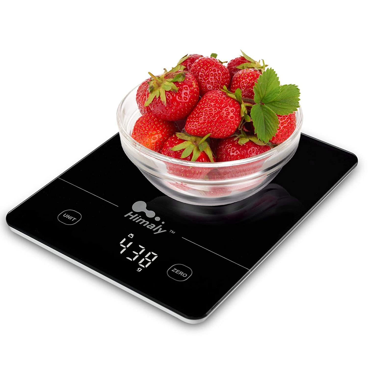 Digital Food Scale, 11 lbs/5kg Kitchen Scale Measures in 4 Units, Multifunction Weight Scale for Cooking, Baking, Food and Liquid, Easy Clean Touch Button Tempered Glass Panel with LED Display