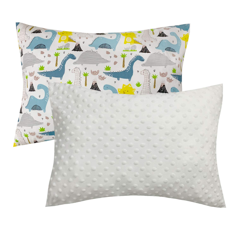 幼児用枕カバー ベビーセント 異なる両面   片面は暖かく柔らかいシェニール織り 春用   片面は滑らかで心地よいコットン製 夏用 Toddler  White Dinosaur B07QSVV5CB