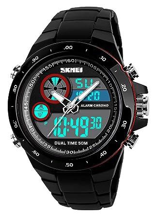 3a188e0b46 腕時計 デジタルウォッチ メンズ 両地時間帯表示 ミリタリースタイル ストップウォッチ アラーム 夜光バック