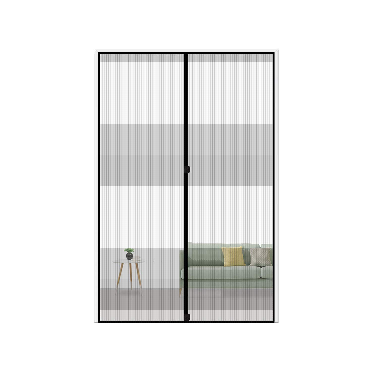 MAGZO Magnetic Screen Door 36 x 96, Reinforced Fiberglass Mesh Curtain Entry Door Mesh with Full Frame Hook&Loop Fits Door Size up to 36''x96'' Max-Grey by MAGZO