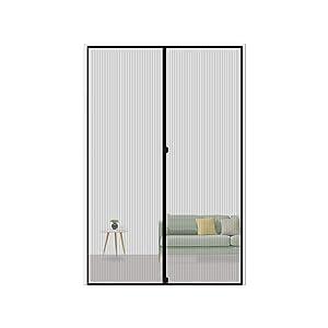 """MAGZO Magnetic Screen Door 36 x 80, Reinforced Fiberglass Mesh Curtain Sliding Door Mesh with Full Frame Hook&Loop Fits Door Size up to 36""""x80"""" Max-Grey"""