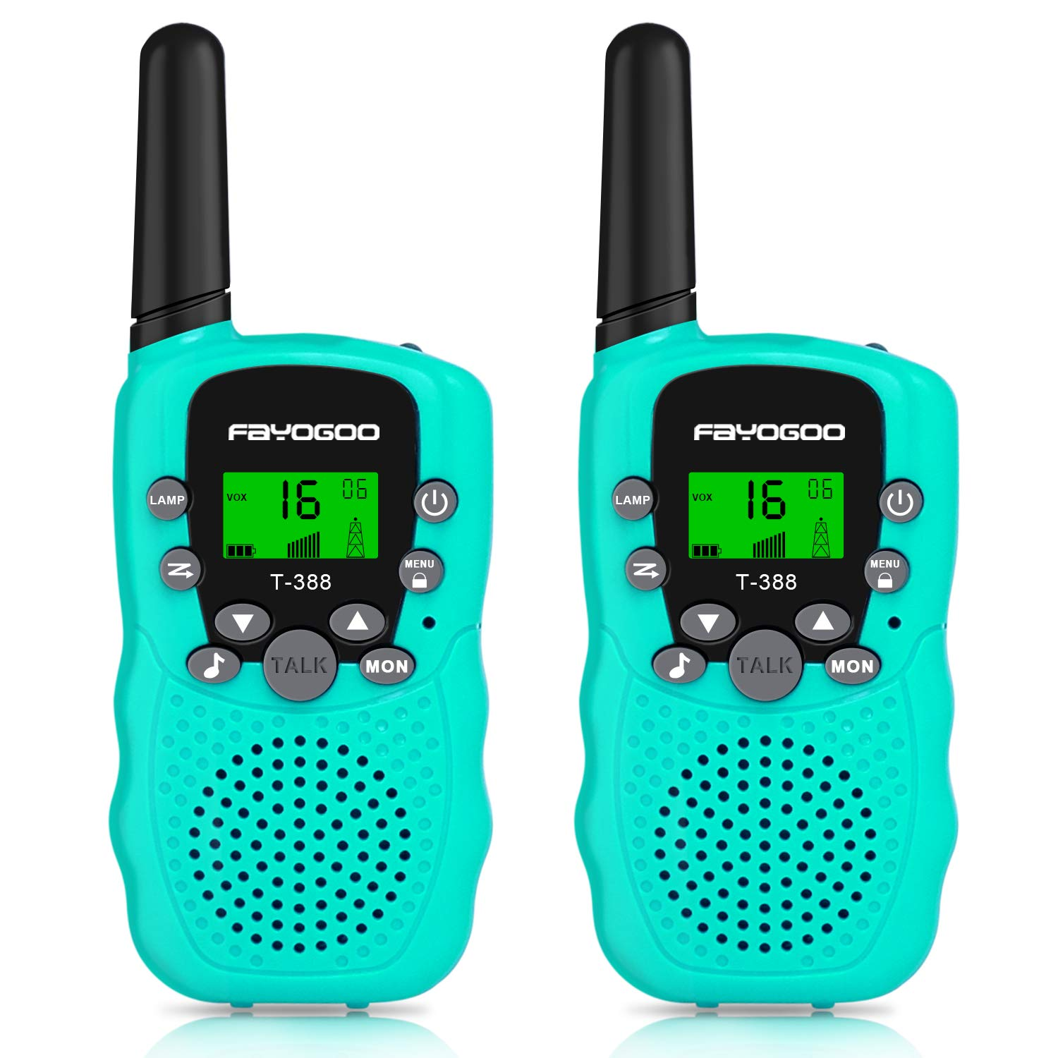 FAYOGOO Kids Walkie Talkies, 22-Channel FRS/GMRS Radio, 4-Mile Range Two Way Radios with Flashlight and LCD Screen, and Toys for 3-12 Year Old Boys and Girls (T388-Blue) by FAYOGOO