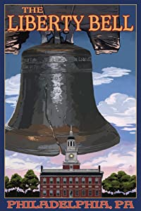 Philadelphia, Pennsylvania - Independence Hall and Liberty Bell (9x12 Art Print, Wall Decor Travel Poster)