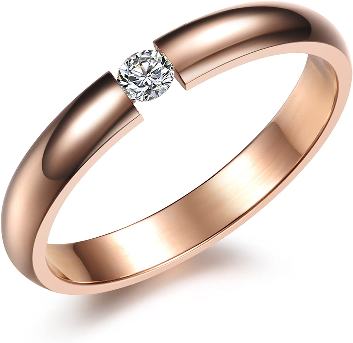 Lary Jewelry Girls Pretty 18K Rose Gold Plated Stainless Steel Round Cut CZ Best Promise Rings