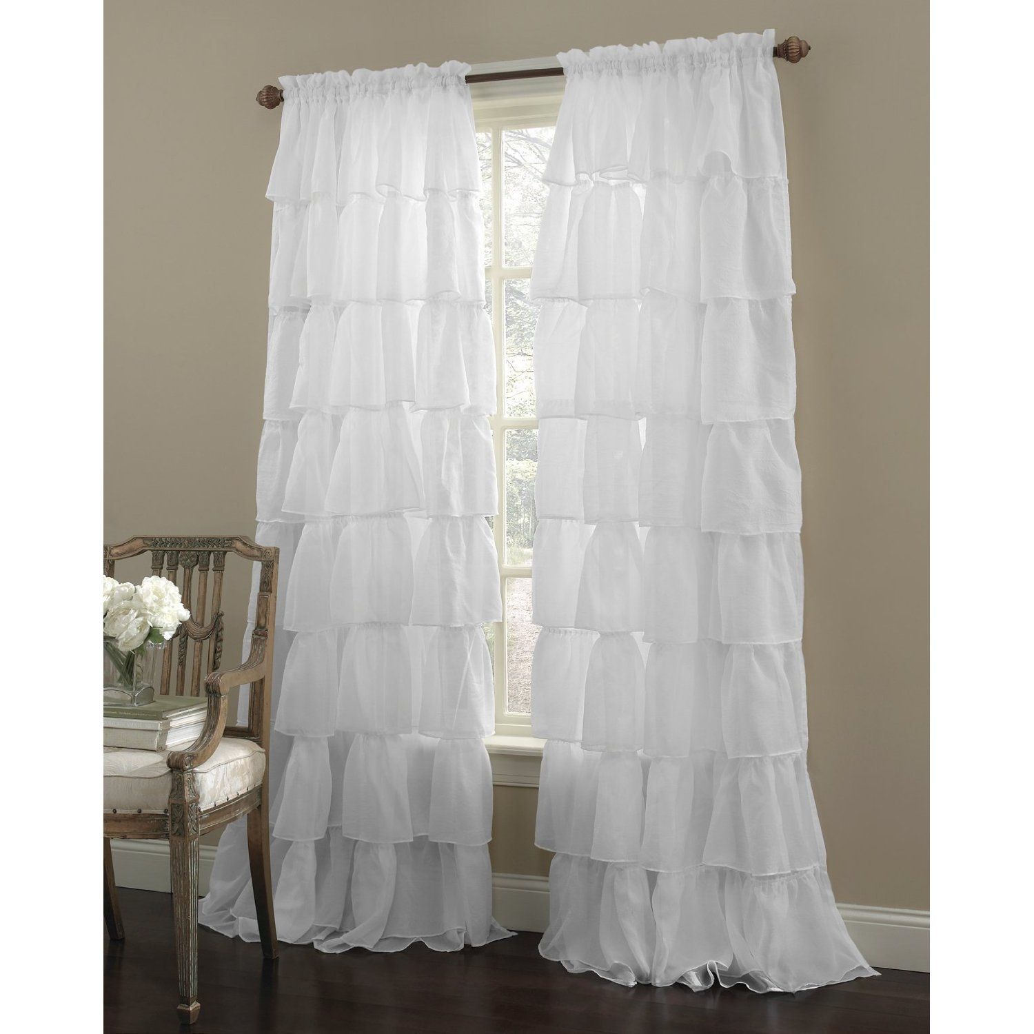 white ruffled curtain panel farmhouse decor