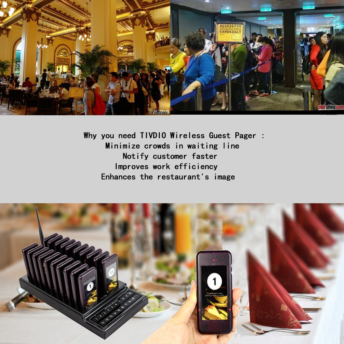 Retekess T112 Restaurant Pager System Queue Wireless Calling System Long Transmission Distance with 30 Coaster Pagers 999 Channel Keypad for Church Nursery Food Truck Coffee Shop by Retekess (Image #7)