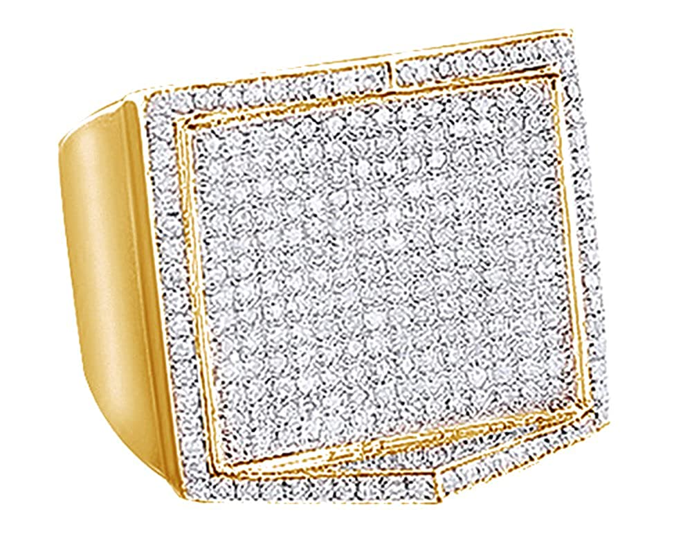 Wishrocks Round Cut White CZ Mens Cluster Hip Hop Ring in 14K Gold Over Sterling Silver