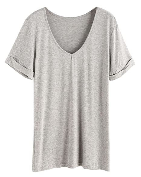 a6a3ae7d1c SHEIN Women's Summer Short Sleeve Loose Casual Tee T-Shirt Grey# Large at  Amazon Women's Clothing store: