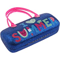 kesoto Hard Eyeglass Case With Handles For Girls And Kids - I Love Summer - Dark Blue