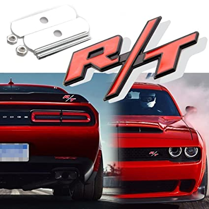R//T RT Grill Trunk Metal Emblem Badge w// Sticker for Dodge Challenger Charger
