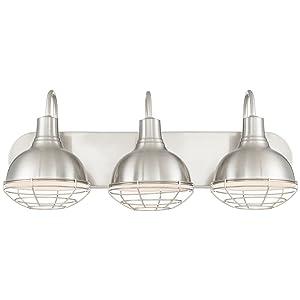 "Kira Home Liberty 24"" 3-Light Modern Industrial Vanity/Bathroom Light, Brushed Nickel Finish"