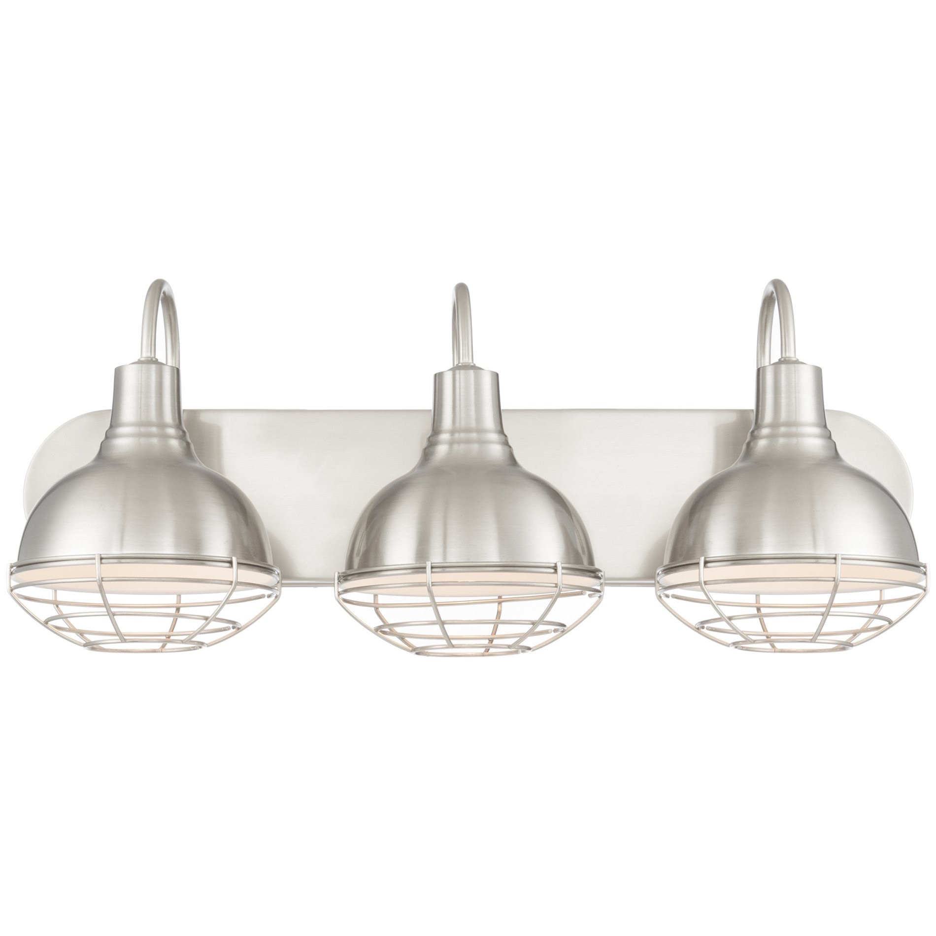 Revel liberty 24 3 light industrial vanity bathroom light - 8 light bathroom fixture brushed nickel ...