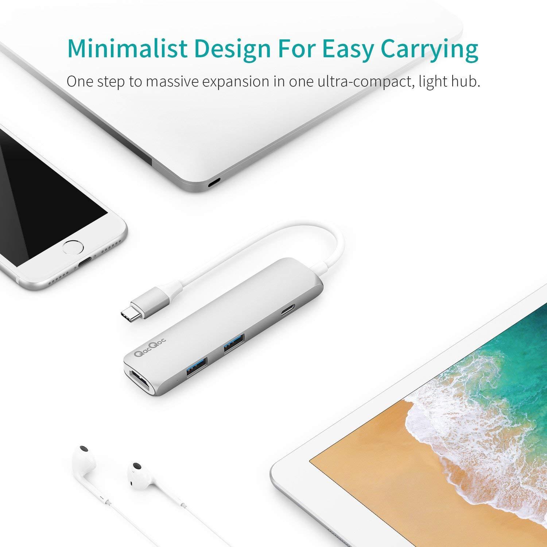 QacQoc Hub USB C Thunderbolt 3 40Gbs Compatible with 13//15 Apple MacBook 2 Ports USB-C HDMI Port 4K Grey HUB-6-IN-1-Gray USB 3.0 Ports