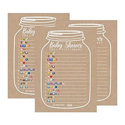 Amazon Com 25 Rustic Emoji Pictionary Baby Shower Games Ideas For