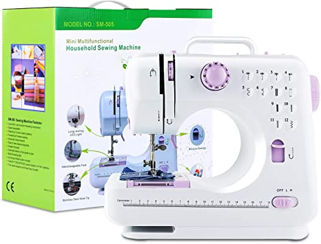 Electric Sewing Machine Portable Mini Hand Stitch Double Speed Lightweight Automatic Threader 12 Pattern Overlock Household Quilting Tool with Foot Pedal